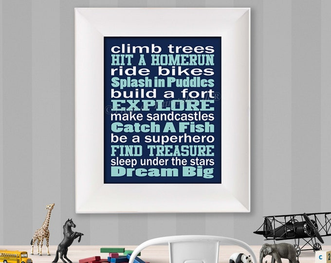 Climb Trees Navy Aqua and White Typography Digital Download