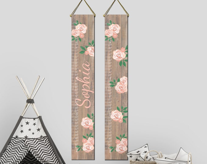 Roses Flowers Wood Girls Canvas Growth Chart Height Chart Ruler