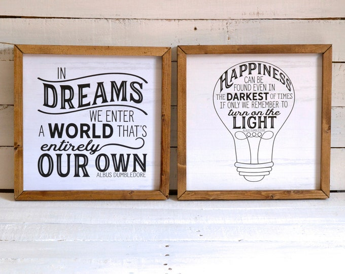 Happiness Can Be Found and In Dreams We Enter Inspirational Quotes Rustic White Wooden Framed Canvas Print Set