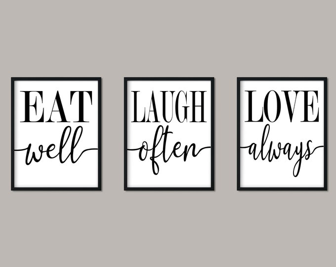 Eat Laugh Love Black and White Paper Print Wall Art Set, Free Shipping