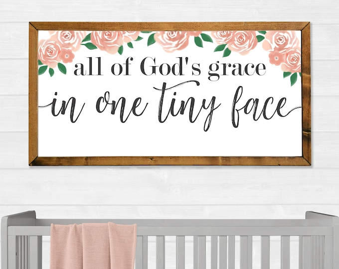All of God's Grace in One Tiny Face Flowers Canvas Wall Art Sign