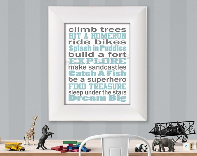 Climb Trees Light Blue Grey and White Typography Digital Download