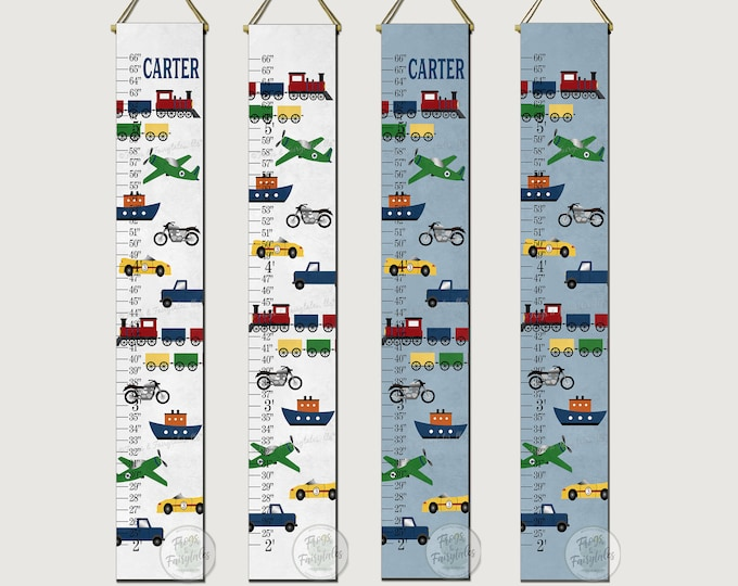 Transportation Themed Canvas Growth Chart Height Ruler