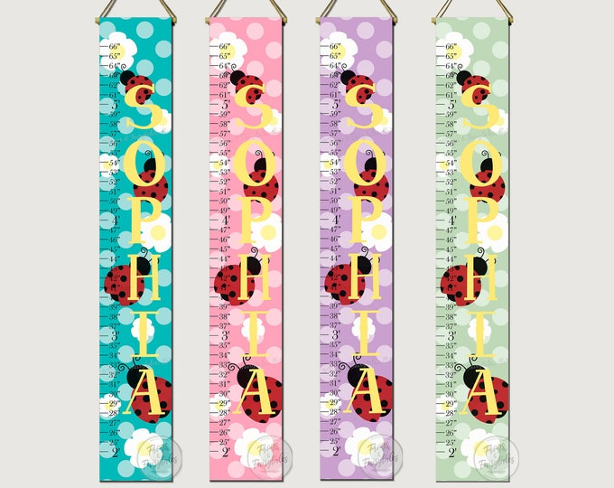 Ladybugs and Daisies Polka Dot Flower Canvas Growth Chart Height Ruler