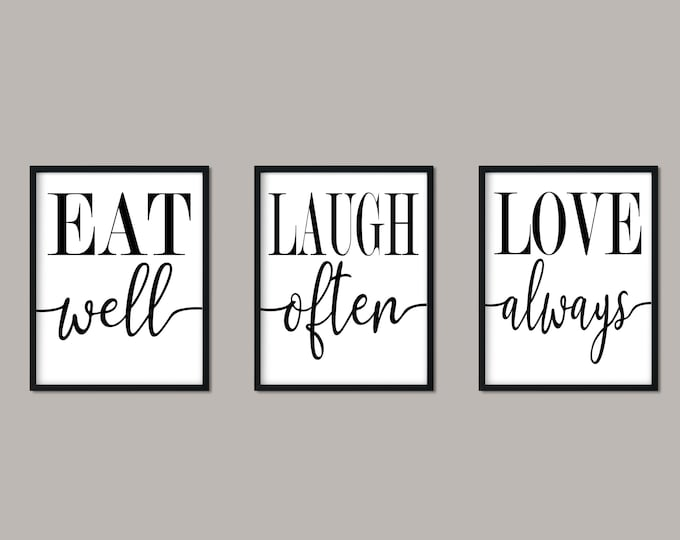 Eat Laugh Love Set of Three 11x14 Prints Digital Download