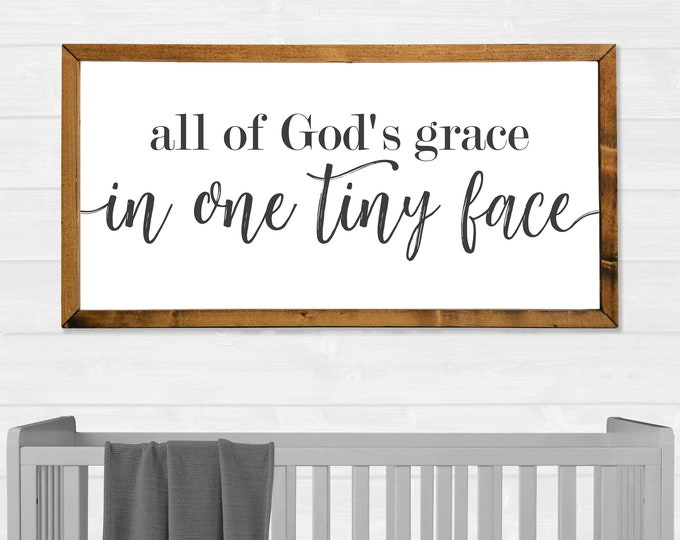 All of God's Grace in One Tiny Face Canvas Wall Art Sign
