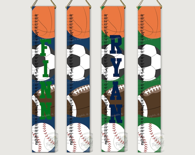 Sports Navy and Green Modern Canvas Growth Chart Height Chart Ruler