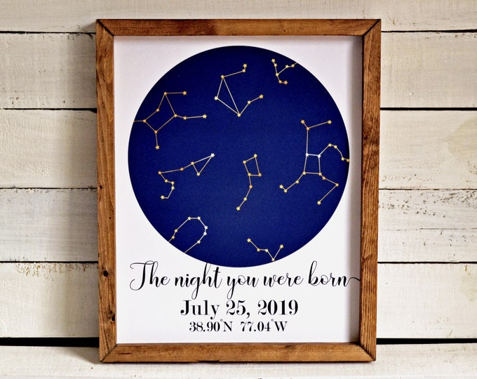 The Night You Were Born Custom Constellations Wooden Framed Canvas Print