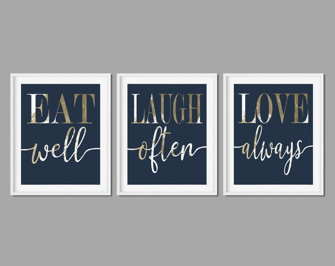 Eat Laugh Love Navy Gold Set of Three Prints Digital Download
