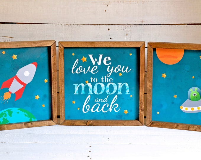 We Love You to the Moon and Back Outer Space Wooden Framed Canvas Print Set