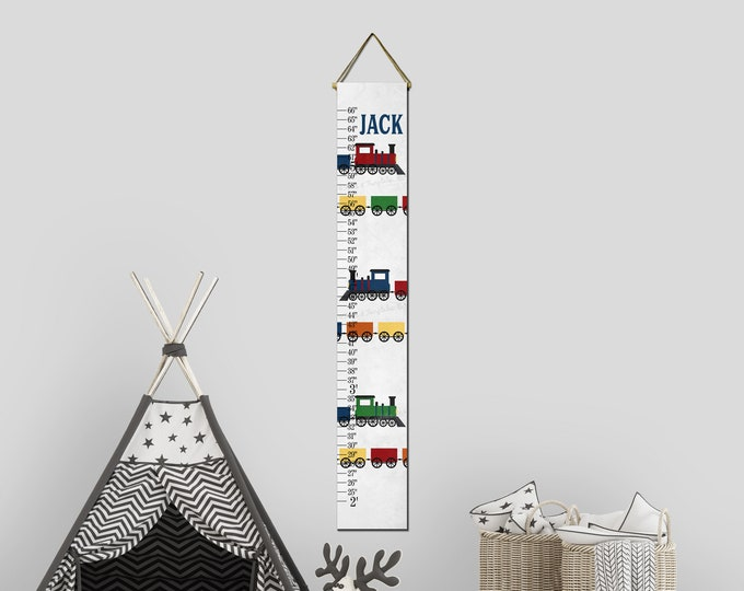 Trains Canvas Height Growth Chart Ruler