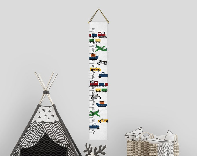 Transportation Themed Canvas Growth Height Chart Ruler
