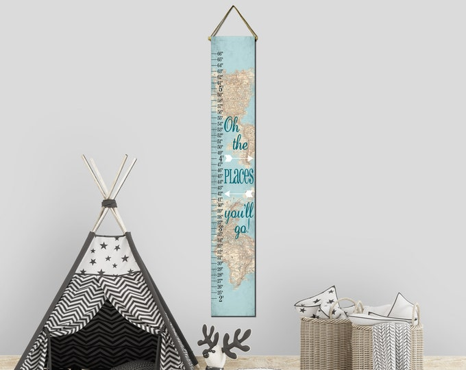 Oh The Places You'll Go Aqua World Map Canvas Height Growth Chart