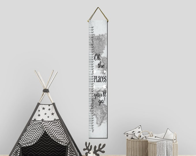 Oh The Places You'll Go Black and White World Map Canvas Height Growth Chart