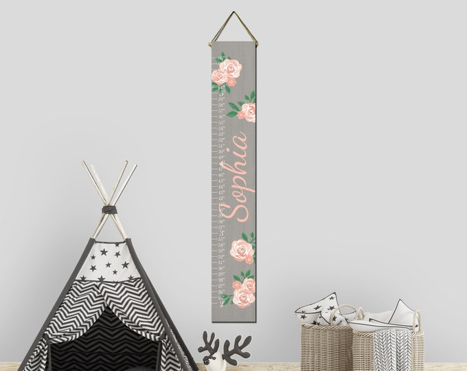Roses Flowers Gray Wood Girls Canvas Growth Chart Height Chart Ruler