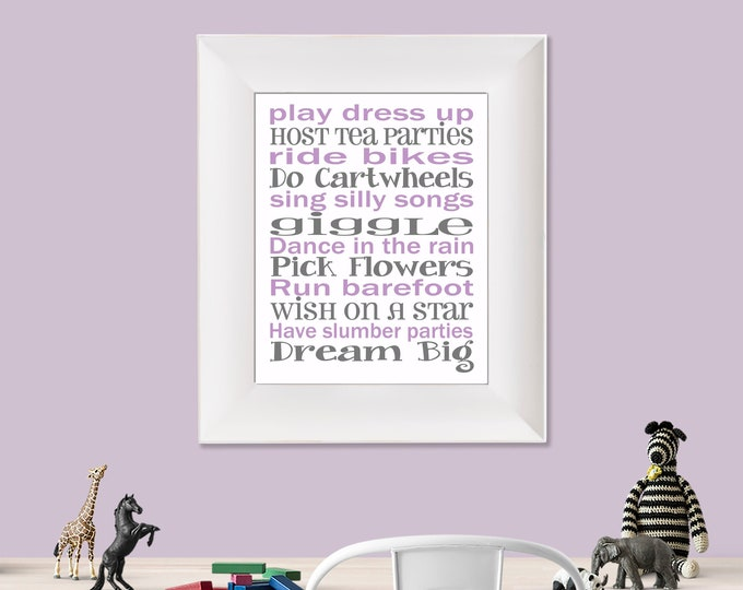 Play Dress Up Dream Big White Purple and Grey Typography Digital Download