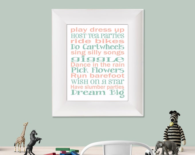 Play Dress Up Dream Big White Coral and Mint Green Typography Digital Download