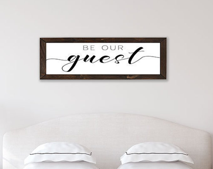 Be Our Guest Wooden Framed Canvas Print