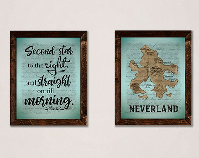 Neverland Map Peter Pan Wooden Framed Canvas Wall Art Set