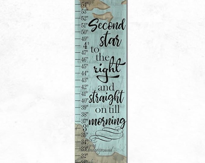 Neverland Map Second Star To The Right Canvas Height Growth Chart Print