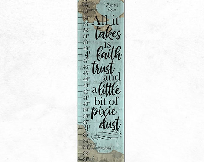Neverland Map All It Takes is Faith Trust and Pixie Dust Canvas Height Growth Chart Print