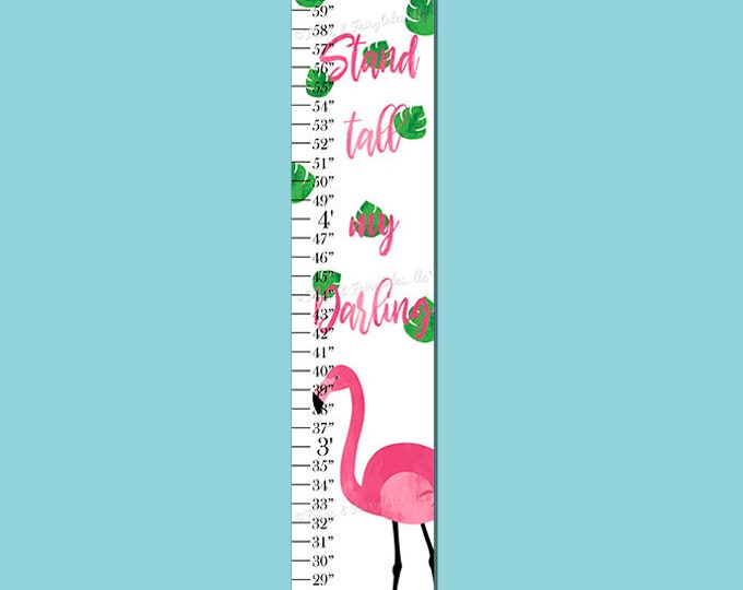 Flamingo Stand Tall My Darling Canvas Height Growth Chart Print
