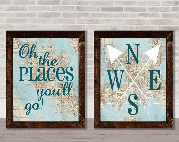 Oh The Places You'll Go World Map Gender Neutral Wooden Framed Canvas Print Set