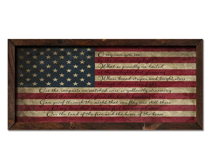 "Star Spangled Banner 36""x18"" Large American Flag Vintage Worn Rustic Wooden Framed Canvas Wall Art"
