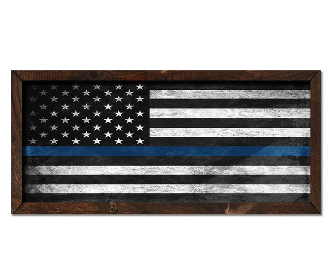 "Thin Blue Line 36""x18"" Large Black and White American Flag Rustic Wooden Framed Canvas Wall Art"