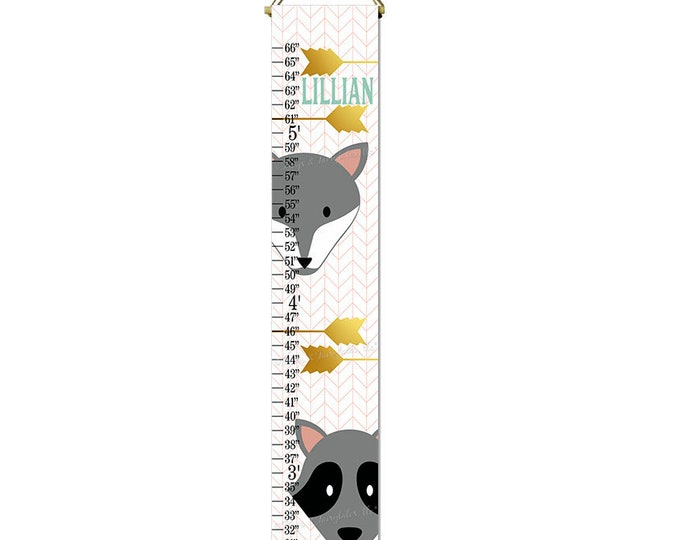 Fox Raccoon Coral Gold Arrows Nature Themed Canvas Height Growth Chart Print