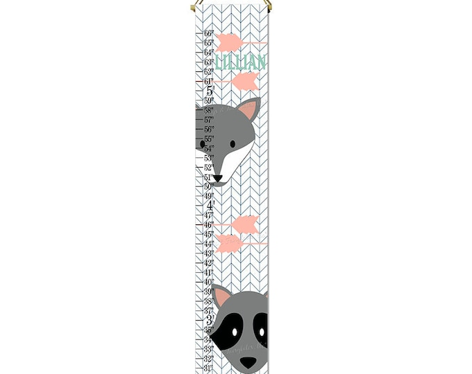 Fox Raccoon Navy Coral Arrows Nature Themed Canvas Height Growth Chart Print