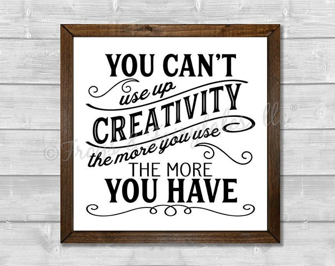 Creativity The More You Use The More You Have in white Wooden Framed Canvas Wall Art