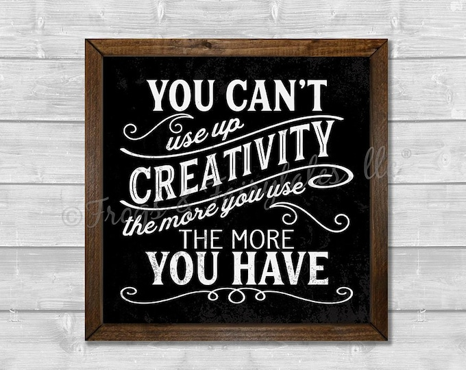 Creativity The More You Use The More You Have in Black Wooden Framed Canvas Wall Art
