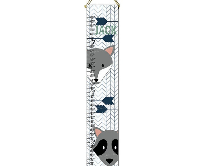 Fox Raccoon Arrows Nature Themed Canvas Height Growth Chart Print