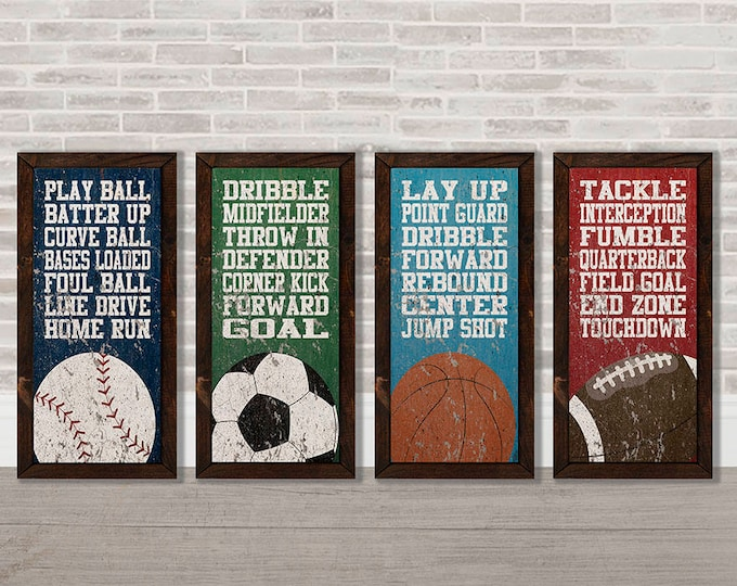 Sports Baseball Soccer Basketball Football Typography Wooden Framed Canvas Print Set