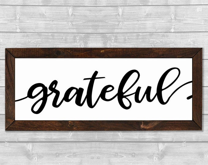 Grateful Black and White Wooden Framed Canvas Wall Art