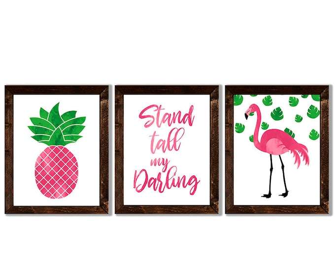 Stand Tall My Darling Flamingo Pineapple Pink and Green Wooden Framed Canvas Wall Art Set