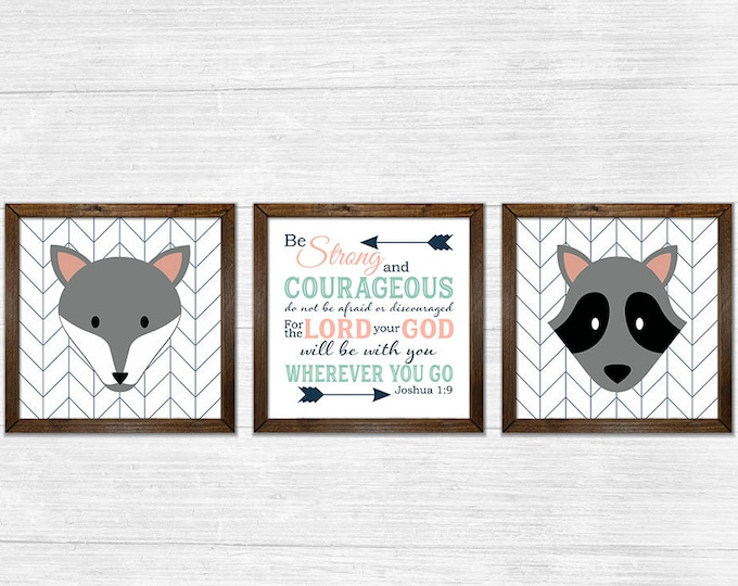 Joshua 1:9 Be Strong and Courageous Gender Neutral Twins Coral Mint Green Navy Canvas Rustic Wood Framed Wall Art Set