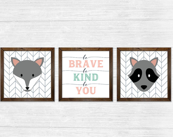 Be Brave Be Kind Be You Girls Coral Navy Canvas Rustic Wood Framed Wall Art Set