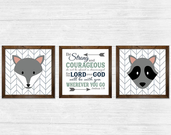 Joshua 1:9 Be Strong and Courageous Boys Navy Grey Canvas Rustic Wood Framed Wall Art Set
