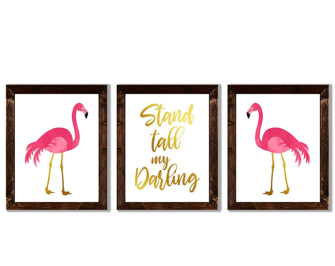 Stand Tall My Darling Flamingo Pink Watercolor and Gold Foil Effect Wooden Framed Canvas Wall Art