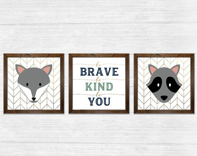 Be Brave Be Kind Be You Gender Neutral Twins Gold Navy Canvas Rustic Wood Framed Wall Art Set
