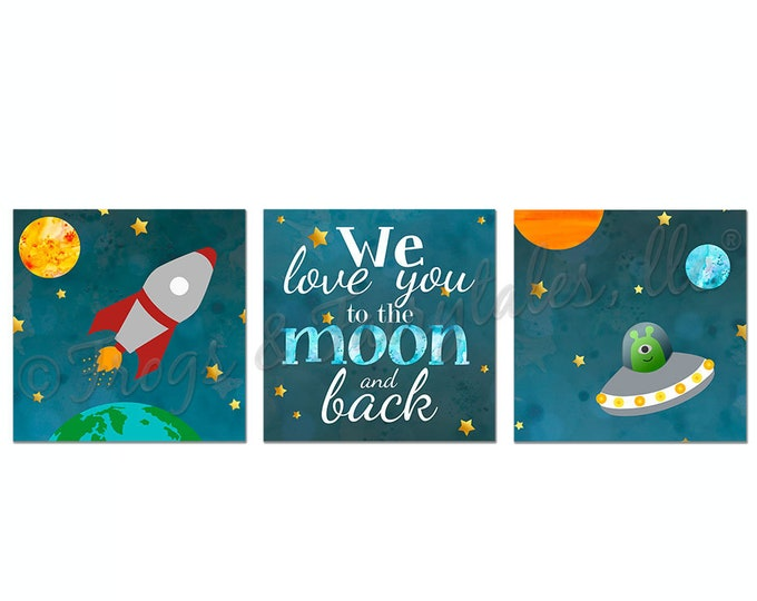 We Love You to the Moon and Back Outer Space Themed Canvas Wall Art Set