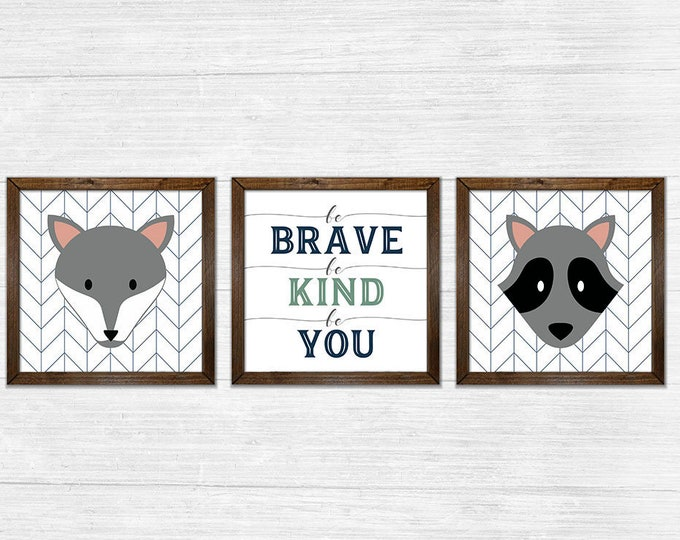 Be Brave Be Kind Be You Navy Grey Canvas Rustic Wood Framed Wall Art Set