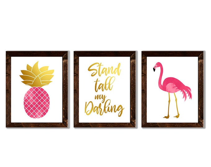 Stand Tall My Darling Flamingo Pineapple Pink and Gold Foil Effect Wooden Framed Canvas Wall Art Set