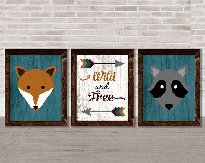 Wild and Free Fox and Raccoon Wooden Framed Canvas Wall Art