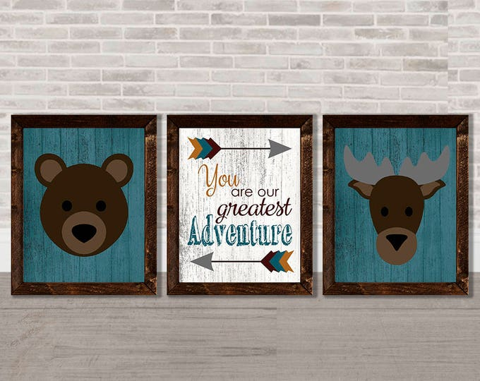 You Are Our Greatest Adventure Bear and Moose Arrows Nature Wooden Framed Canvas Wall Art