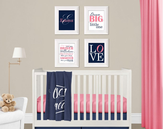 Personalized Wall Art Set in Pink and Navy Photo Paper Prints, Free Shipping