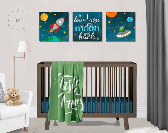Outer Space Rocket Ship Love You to the Moon and Back Canvas Wall Art Set of 3