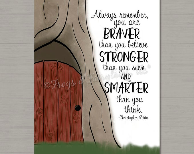 You Are Braver Than You Believe 100 Acre Woods Winnie the Pooh Nursery Gallery Wrapped Canvas Print